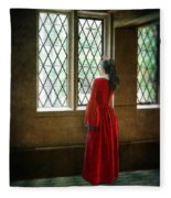 Lady In Tudor Gown Looking Out A Window Fleece Blanket