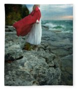 Lady In Vintage Clothing By The Sea Fleece Blanket