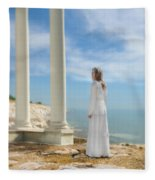 Lady In White By The Sea Fleece Blanket