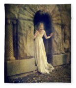 Lady In White Gown In Doorway Fleece Blanket