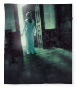 Lady In White Gown Walking Through A Mysterious Doorway Fleece Blanket
