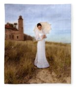 Lady In White With Parasol By The Sea Fleece Blanket