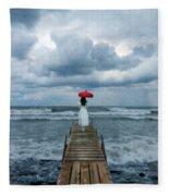 Lady On Dock In Storm Fleece Blanket