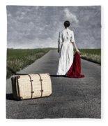 Lady On The Road Fleece Blanket