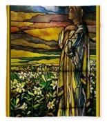 Lady Stained Glass Window Fleece Blanket