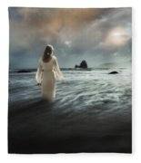 Lady Wading Into The Sea In The Early Morning Fleece Blanket