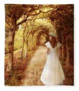 Lady Walking In Tree Tunnel In Garden Fleece Blanket
