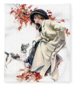 Lady With Dog Fleece Blanket