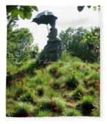 Lady With Umbrella Fleece Blanket