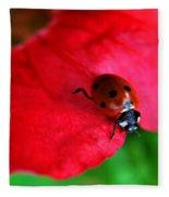 Ladybird On Petal Fleece Blanket