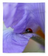 Ladybug On Iris Fleece Blanket