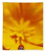 Ladybug On Poppy Flower Petal Fleece Blanket