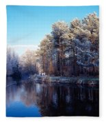 Lagan Meadows During Winter, Belfast Fleece Blanket