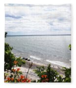 Lake Erie Beach At Sturgeon Point Fleece Blanket