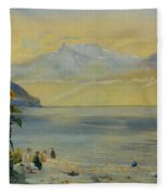 Lake Leman With The Dents Du Midi In The Distance Fleece Blanket