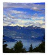 Lake Of Como View Fleece Blanket
