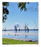 Lake Of The Black Stumps.. Tree Framed Fleece Blanket