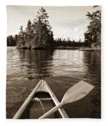Lake Of The Woods, Ontario, Canada Boat Fleece Blanket