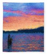 Lake Quinault Sunset - Impressionism Fleece Blanket