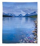 Lake Sherburne Shoreline Fleece Blanket
