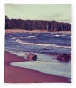 Lake Superior Beach Waves  Fleece Blanket