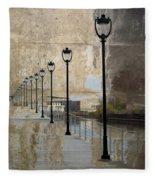 Lamp Posts And Concrete Fleece Blanket