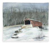Lancaster County Covered Bridge In The Snow  Fleece Blanket