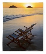 Lanikai Chairs At Sunrise Fleece Blanket