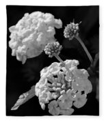 Lantana In Black And White Fleece Blanket