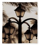 Lanterns And Fronds Fleece Blanket