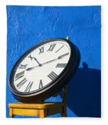 Large Clock On Yellow Chair Fleece Blanket
