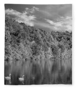 Late Afternoon At The Lake - Bw Fleece Blanket
