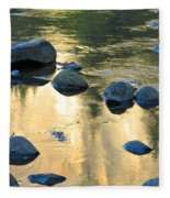 Late Afternoon Reflections In Merced River In Yosemite Valley Fleece Blanket