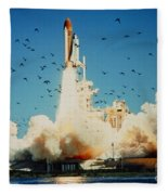 Launch Of Space Shuttle Challenger 51-l Fleece Blanket