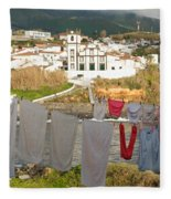 Laundry Day In Azores Fleece Blanket