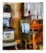 Laundry Drying In Kitchen Fleece Blanket