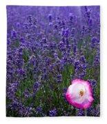 Lavender Field With Poppy Fleece Blanket