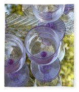 Lavender Wine Glasses Fleece Blanket