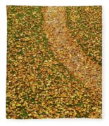 Lawn Covered With Fallen Leaves Fleece Blanket