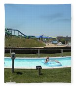 Lazy River Panorama At A Water Park Fleece Blanket