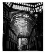 Leadenhall Market Black And White Fleece Blanket