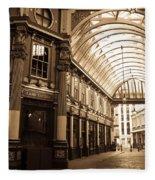 Leadenhall Market London Sepia Toned Image Fleece Blanket