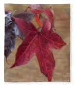 Leaf In Red Fleece Blanket