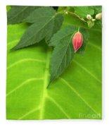 Leaf On Leaf With Red Bud Fleece Blanket
