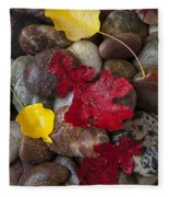 Leafs And Stones Fleece Blanket