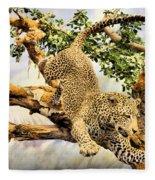 Leaping Leopard Fleece Blanket