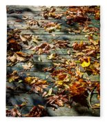 Leaves On The Boardwalk Fleece Blanket