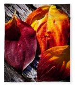 Leaves On The Deck Fleece Blanket