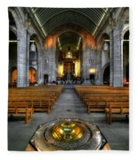 Leeds Cathedral Baptismal Font And Nave Fleece Blanket