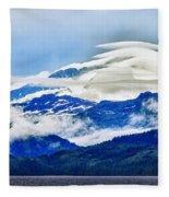 Lenticular And The Chugach Mountains Fleece Blanket